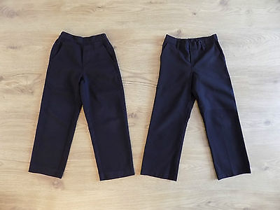 2 x Boys Black School Trousers Age 6 Years (l11)