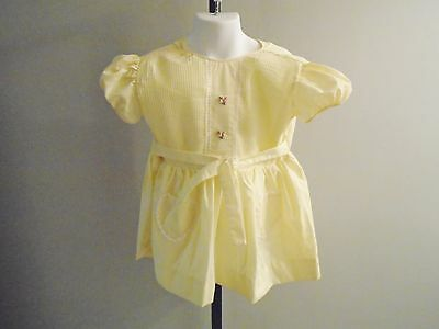 GIRL'S VTG 1970s PALE YELLOW DRESS HEART SHAPED POCKETS BELT SIZE 4 5 6 NOS