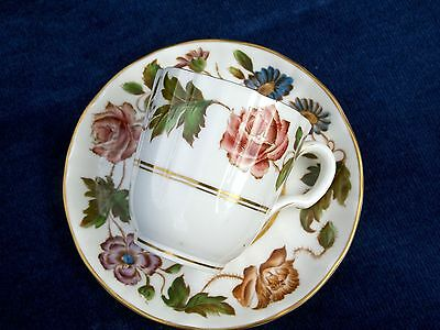 """Antique Stunning """"Royal Worcester"""" Porcelain Cup Saucer / Coffee Can """"VIRGINIA"""""""
