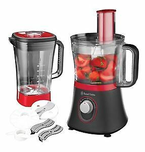 Russell Hobbs 19006 Rosso Food Processor, 1.5 L, 600 W - Red-Black