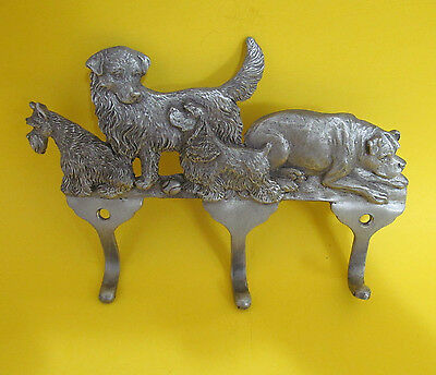 Pewter Dog Wall Hanger Hook Racliffe 2001 Made in USA 6 in long 4 Dogs 3 Hooks