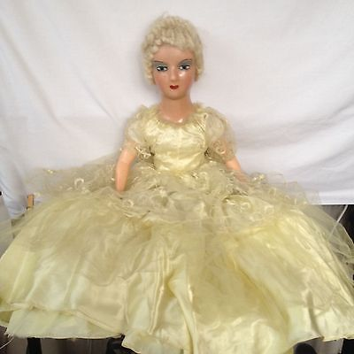 """Vintage 25"""" Composition Bed Doll with Mohair hair. All Original Dress."""