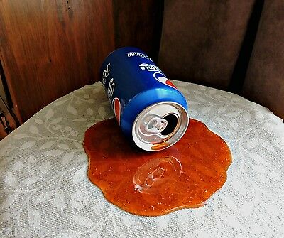 Spilled Can Cola Soda Pop Handcrafted Fake Food Photo Spill Prop Gag April Fools