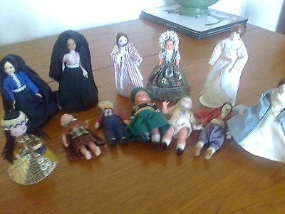 coll. of 12 small vintage character dolls, various materials, vgc
