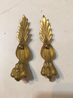 Pair Of Antique French Cast Metal Clock Adornments Gilt Paw Feet Leaves