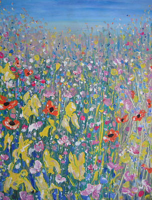 In the Wild Flower Meadow: large painting on canvas by Jenny Hare