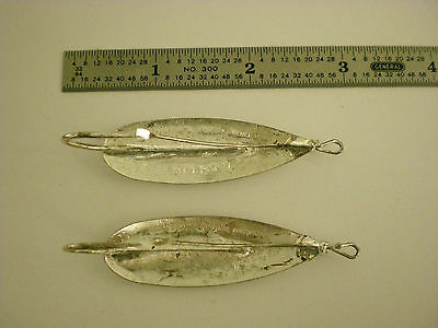 Used Lot Of 2 Vintage Johnson's Silver Minnow Spoon Fishing Lures