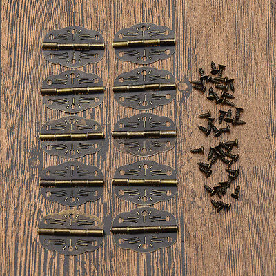 10pcs Vintage Door Butt Hinges Carved Iron Cabinet Furniture Box Accessory DIY