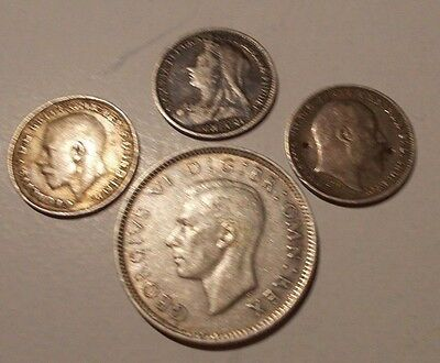 Silver Lot Of (3) Three Pence And  (1) 1945 One Shilling Coin.
