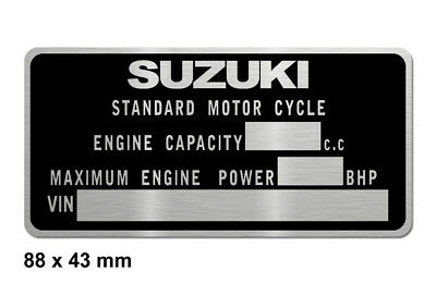 SUZUKI motorcycle data plate quality vin-tage new