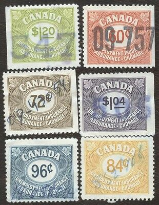 Stamp Canada Unemployment Insurance Collection, lot of 6 used stamps.