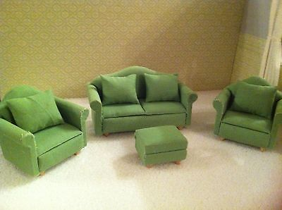 Dolls House 1:12th Scale Green Sofa/ Settee, Footstool & 2 Armchairs.