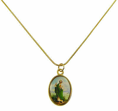 Catholic St. Jude image medal pendant gold colour necklace in organza bag