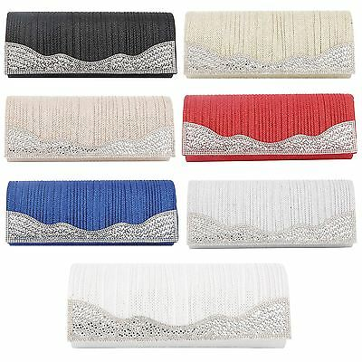 Womens Crystal Diamante Shiny Sparkle Evening Party Wedding Prom Clutch Hand Bag
