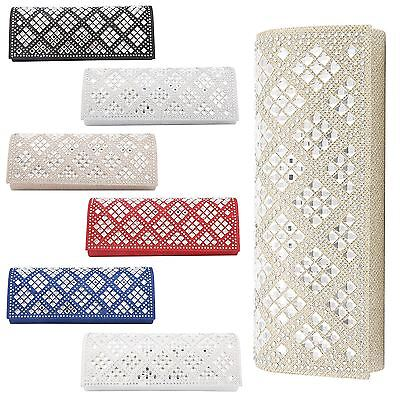 Womens Satin Glitter Shiny Diamante Purse Evening Party Wedding Prom Clutch Bag