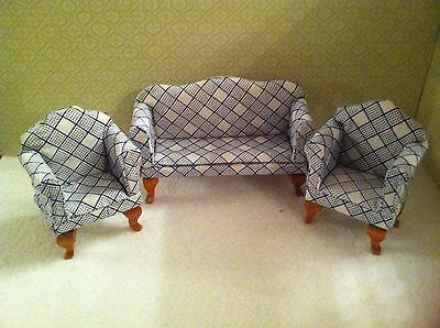 Dolls House 1:12th Scale Blue & White Sofa/ Settee & 2 Armchairs.