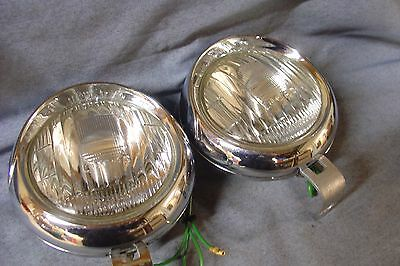 Lucas 4Ft Fog Lamps For British Classic Ford Cars Pair Refurbished