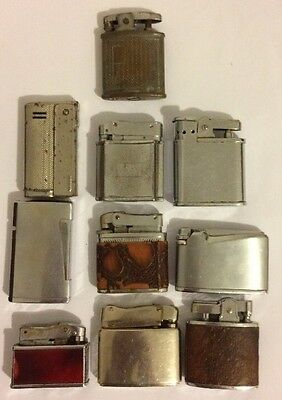 Mixed Lot Of 10 Vintage Lighters Need Some TLC