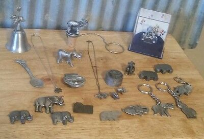 Fine Pewter Lot of 23 Elephants Necklace Money Clip Spoon Bell Pin Key Chain