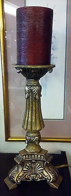 "20"" Vintage Gold Scrolled Pillar with Feet Electric Candelabra Table Lamp"