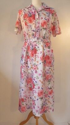 Vintage 1960s does '50s fab floral day dress with a twist, size 14