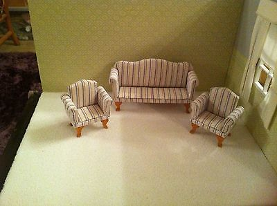 Dolls House 1:12th Scale Blue, White & Red Stripped Sofa/ Settee & 2 Armchairs.
