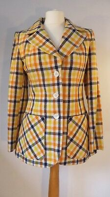 Vintage 1970s Italian checked wool mix jacket in cream, navy & orange, size 10