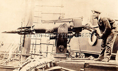 Antique Repro 8X10 Photo 1930's Whaling Harpoon Gunner > Very Cool