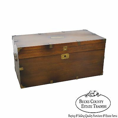 Vintage Mahogany Campaign Style Lidded Blanket Chest or Trunk by Lane
