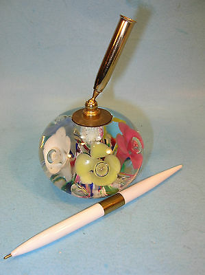Hand-blown Floral ST CLARE PAPERWEIGHT / PEN HOLDER w/ ORIGINAL TAG
