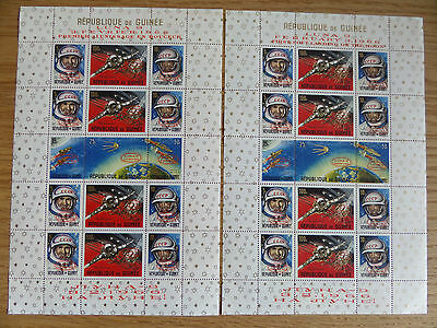 Guinea 1966 Moon Landing complete sheets in French and English unmounted mint