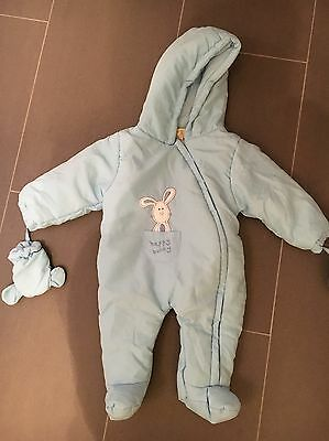 Blue Boys Baby By Combo snowsuit Pramsuit 6-9 Months. New