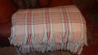 """Vintage Welsh Wool Large Multi-Coloured Check Blanket / Throw - 71"""" x 86"""""""
