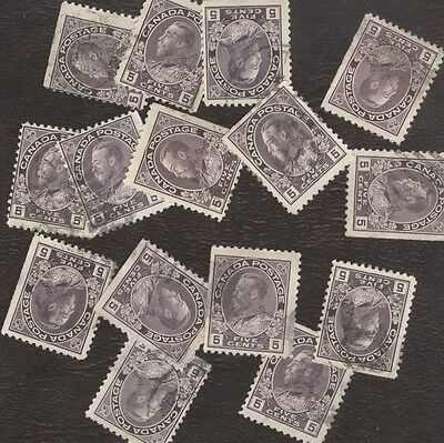 Stamp Canada # 112, 5¢, 1922, lot of 15 used stamps.