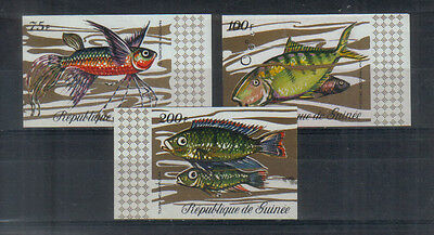 Guinea 1971 Fish 75f, 100f and 200f imperf unmounted mint