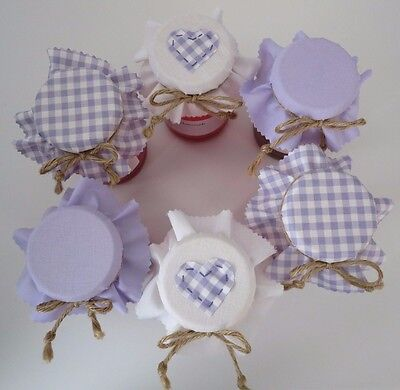 6 Homemade lilac heart selection jam jar covers, labels bands and ties.