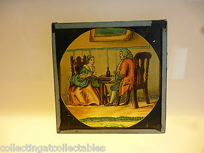 Antique Glass Magic Lantern Slide  Gentleman Courting Lady With Wine