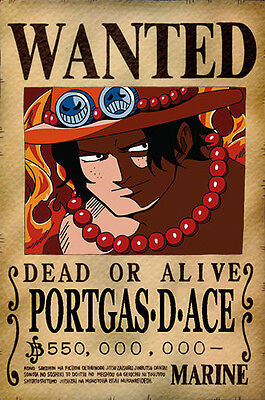 One Piece WANTED Poster (26 x 40 cm)  – PORTGAS D. ACE