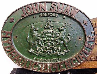 Large Cast Iron 1874 Name Plate John Shaw Hydraulic Engineer Salford Manchester