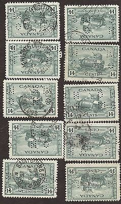 Stamp Canada, # 0259, 14¢, 1942, lot of 10 used stamps.