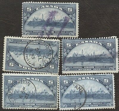 Stamp Canada # 202, 5¢, 1933, lot of 5 used stamps.