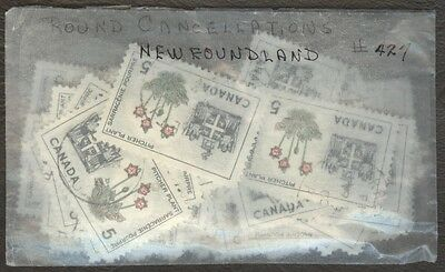 Stamps Canada # 427, 5¢, 1966, lot of 100 round cancellations used stamps.