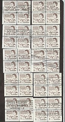Stamps Canada # 454, 1¢, 1967, 10 blocks of 4 used stamps.