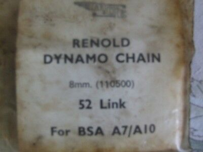 Renold Dynamo Vintage Chain 8mm 52 link BSA A7/A10 (110500) motorcycle