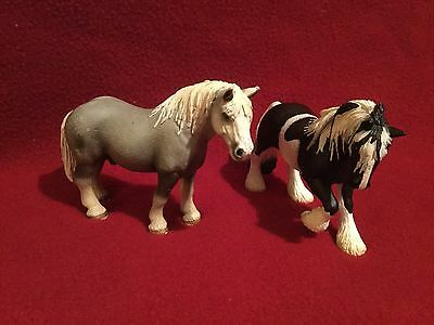 "Schleich Horses ""Percheron Stallion Draft Horse"" ~ ""Black and White Tinker Mare"""