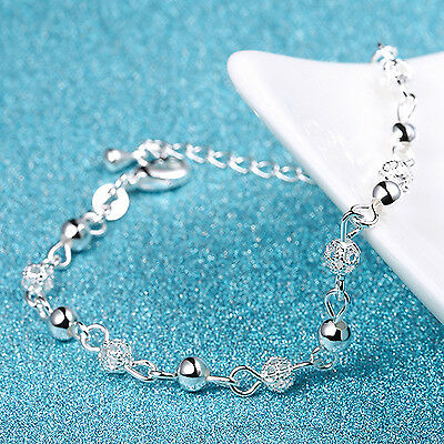 New Women 925 Plated Silver Crystal Chain Bangle Cuff Charm Bracelet Jewelry BE