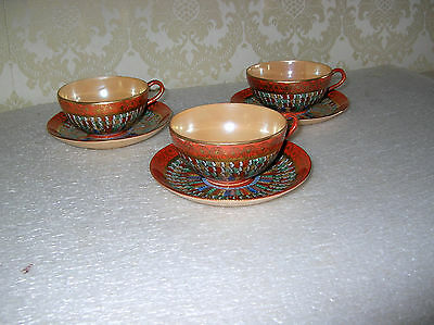 Three Japanese Kutani  Thousand 1000 Faces Coffee Cups And Saucers Choice