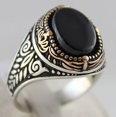 925 Sterling SILVER Turkish Handmade Ottoman Onyx Stone Men Fine Ring Size 11 US