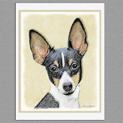 6 Toy Fox Terrier Dog Blank Art Note Greeting Cards