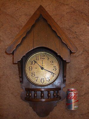 Vintage Rare Large Oak Wall Clock With Seconds And Chain Driven